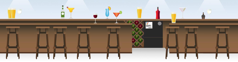 Bar featuring the Mini Glass Bottle Crusher