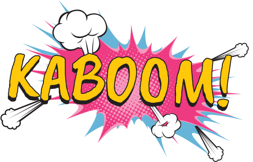 Kaboom logo in pinks and yellow