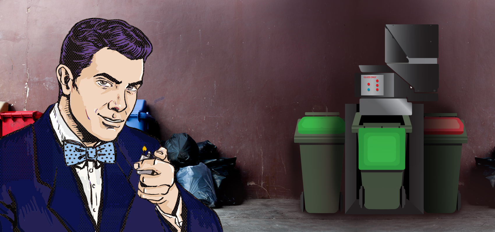 Man in alleyway with Maxi Glass Bottle Crusher