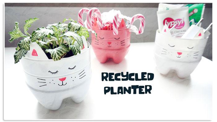 Plastic bottle plant pots